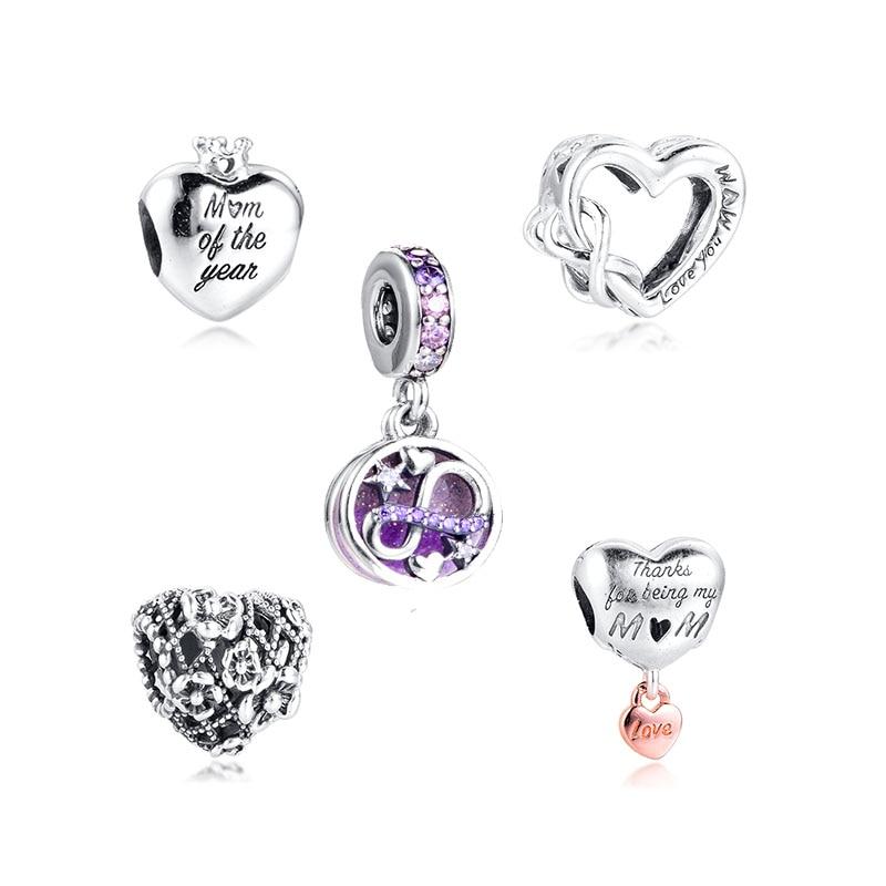 CKK 2020 Día de la madre de mi encantadora mamá encantos 925 Original Fit Pandora pulsera del encanto de la plata esterlina perlas para joyería haciendo