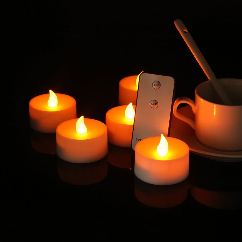12 velas decorativas con control remoto, amarillo parpadeante, velas de batería AAA,...