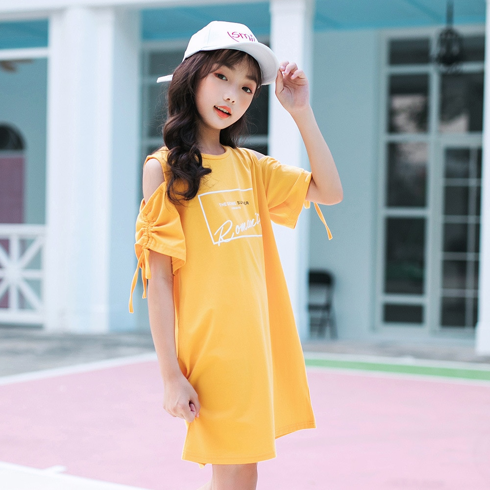 Vestidos grandes informales para niñas, ropa de verano 2020 de algodón para niños, vestidos para niñas adolescentes, ropa para niños de tamaño 468 10 a 12 14 15 años