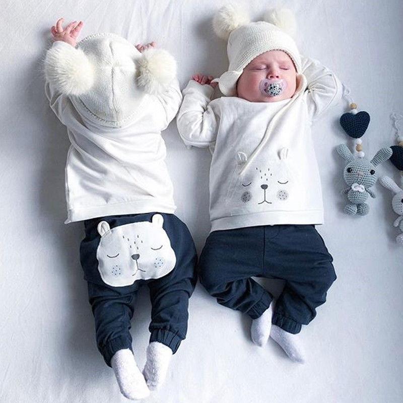 0-18M Newborn Baby Boys Clothes Sets Kids Girls 3D Bear Warm Top Long Pants Outfits Clothing Set