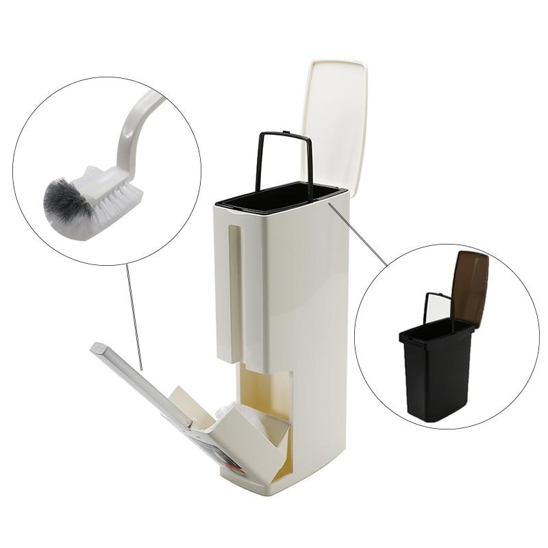 New 6L Trash Can Bathroom Waste Bin Set With Toilet Brush Bath Cleaning Tools Dustbin Trash Cans Garbage Bucket Bag Dispenser enlarge