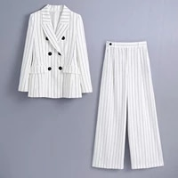 2021 new women two pieces set striped blazer and loose trousers suit fashion casual chic lady outfits women suit