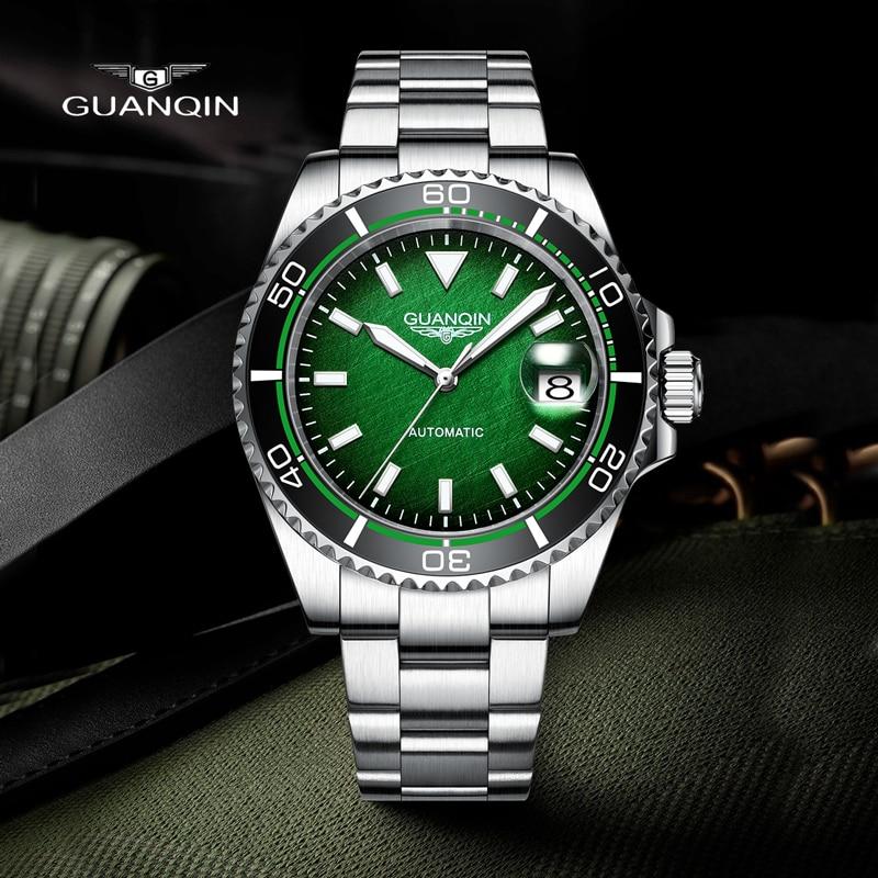 GUANQIN 2021 جديد أفضل العلامة التجارية الفاخرة الرجال الساعات NH35 حركة الميكانيكية ساعة أوتوماتيكية للرجال السيراميك الحافة مقاوم للماء على مدار...