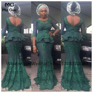 African Teal Mermaid Prom Evening Dresses Long Sleeves Appliques Lace V-Back Women's Evening Gown Custom Made