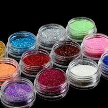 2019 nouveau 12 couleurs/ensemble ongle ornement paillettes fard à paupières oeil maquillage miroitant poudre Pigment ongles cosmétique paillettes couleurs mélangées