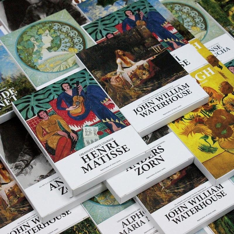 30 sheets/set Art Museum series Famous artists English postcards Envelopes Artwork postcards Works by Monet, Picasso, Van Gogh