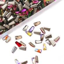 30Pcs/Pack new trapezoid shaped 3D Nail Rhinestone flatback Non Hotfix Glass Stone for Nail DIY Art Decorations jewelry craft