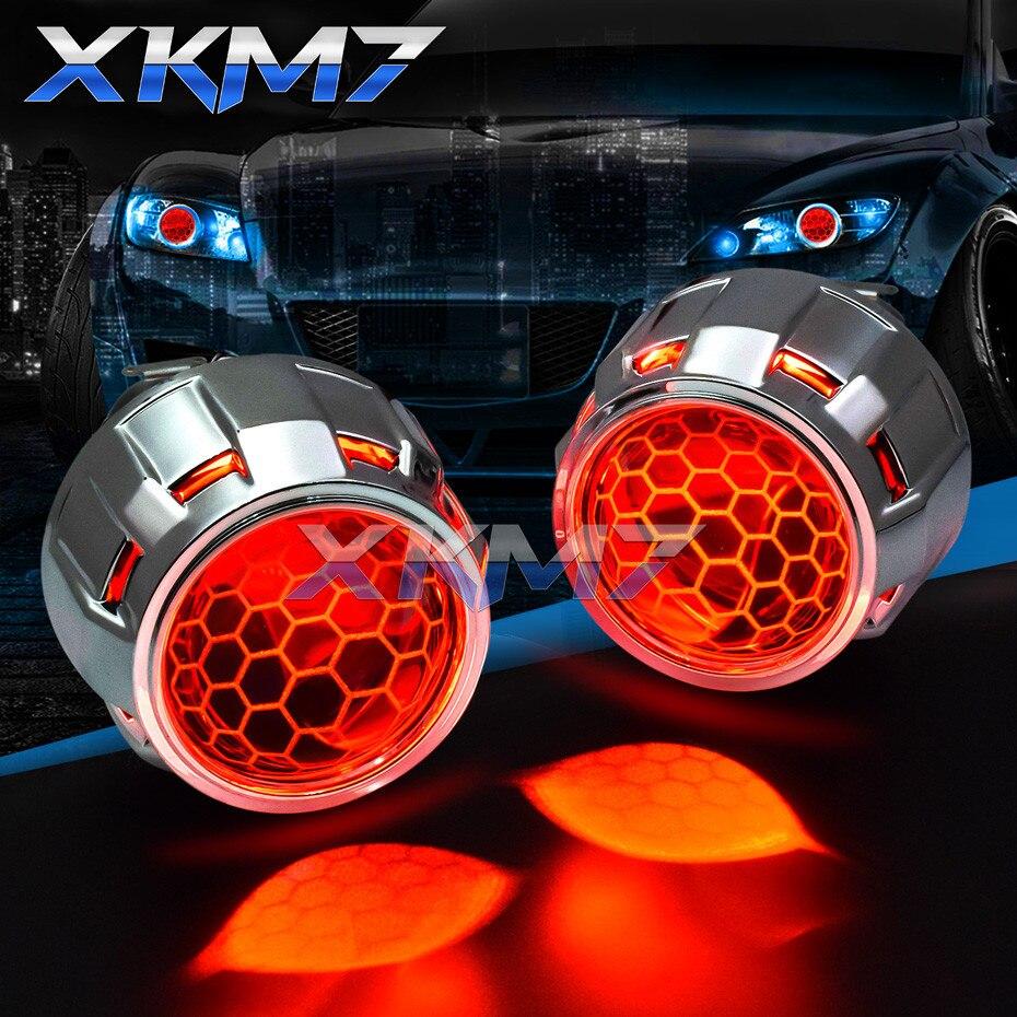 Lentes do farol projetor led diabo olhos bi-xenon favo de mel lente 2.5 super wst para h4 h7 carro luzes acessórios retrofit tuning