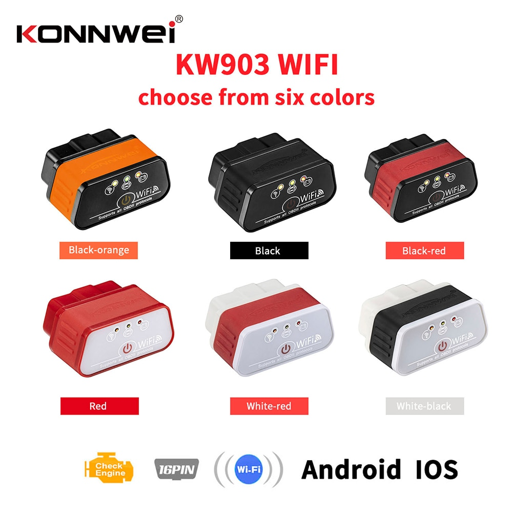 KONNWEI KW903 беспроводной Wifi OBD2 сканер 12 В диагностический считыватель кодов для Android и iOS автоматический сканер считыватель кодов