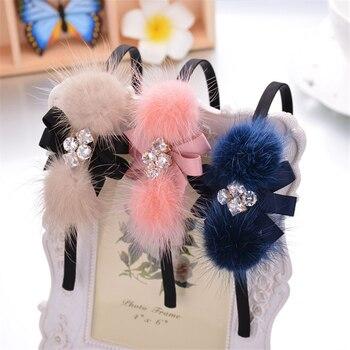 1pc 2 Styles Winter Headband Zircon Stone Fur Balls Hairband Women Hair Jewelry Hair Band for Girls Hair Accessories