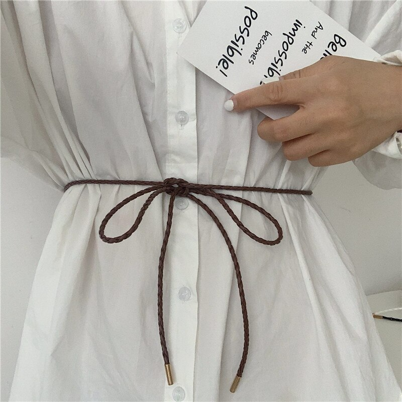 Women's Simple All-Match Korean Casual Weaving Fashion Knotted Small Thin Belt with Dress Decorative