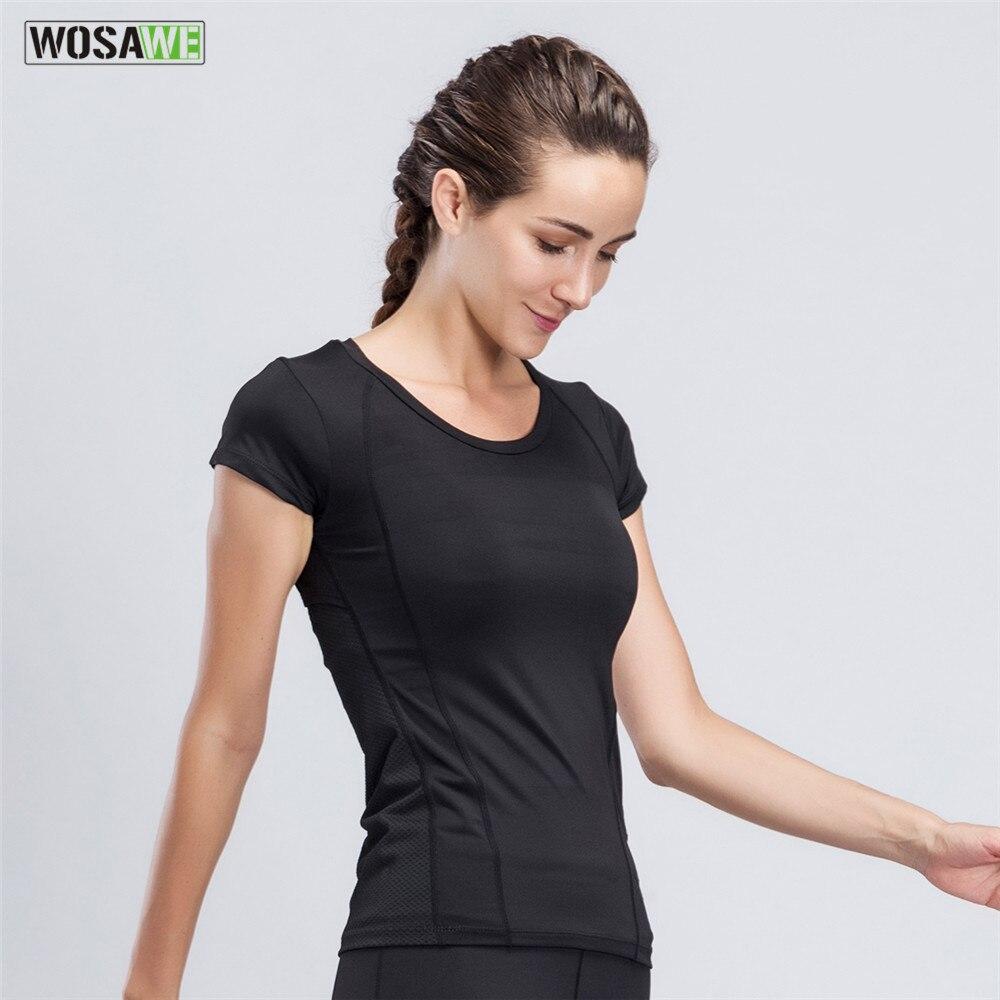 WOSAWE Quick Dry Sport Running T-Shirt  Women Short-sleeved Tops Shirts Black Mesh Tight Tees for Gym Running Yoga