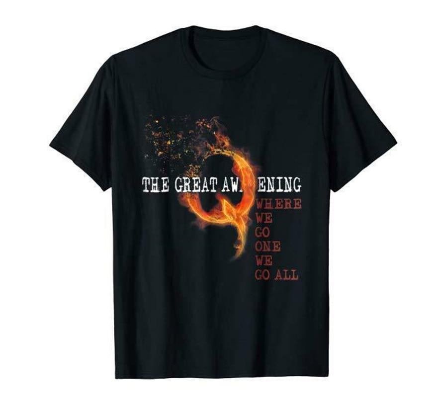 Q Anon Fire Q el gran despertar donde vamos uno vamos todos los EE. UU. Camiseta negro diseño divertido camisa