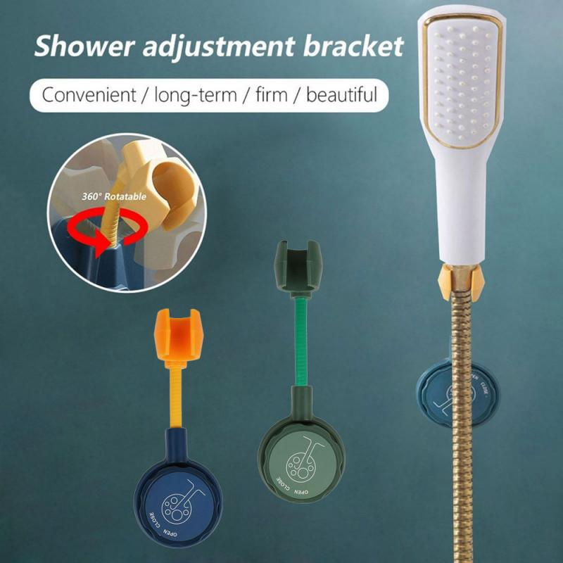 Bathroom Shower Hook Free Punching Seamless Shower Fixed Base Adjustment Nozzle Base Stand Punch-Free 360° Rotation shower support shower accessories water nozzle bathroom free punched silica gel shower sucker fixed base frame