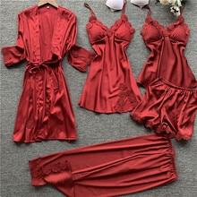 2020 Spring 5 Pieces Women Satin Silk Pajamas Sets Sleepwear Nightwear Pyjama Spaghetti Strap Sleep