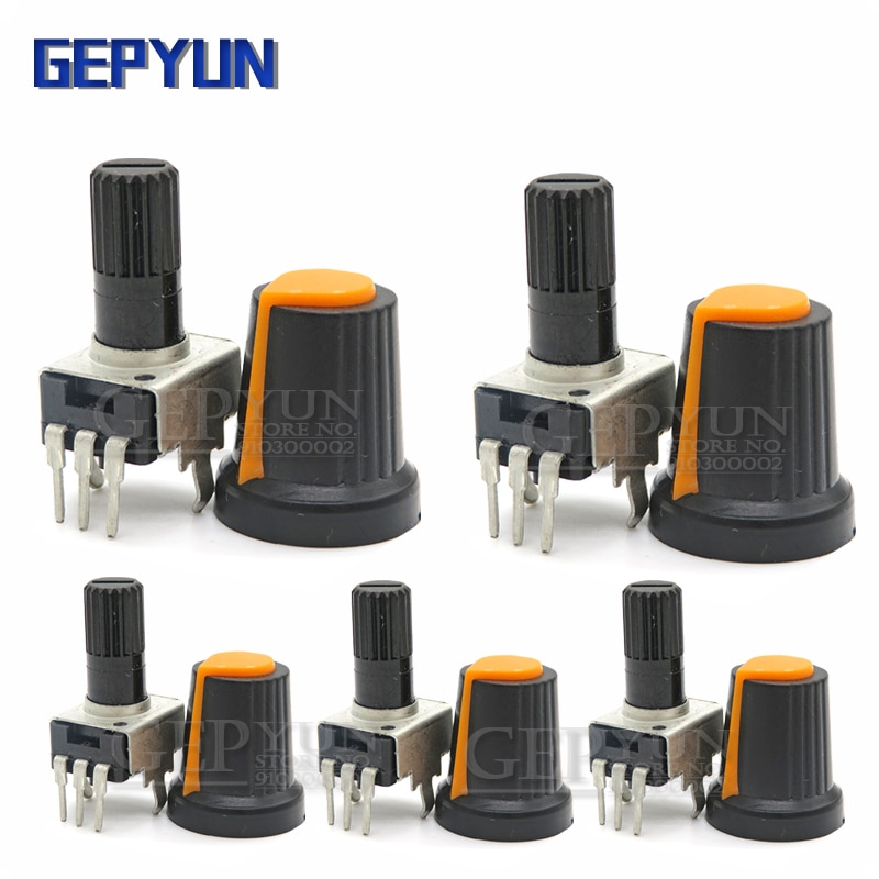 5 conjuntos rv09 vertical 1k ~ 500k ohm resistor ajustável 3pin selo gepyun potenciômetro com botão tampa laranja (5 pces + 5 pces)