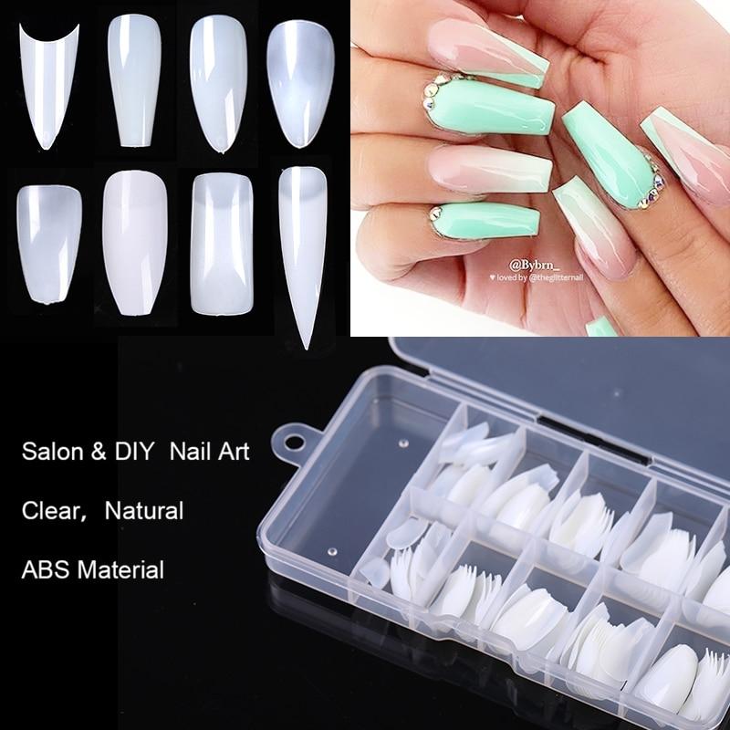 50/100/500 uds/caja de puntas de construcción rápida, formas de uñas, puntas de uñas, puntas de uñas, extensión de uñas, UV, Gel de muestra práctica herramienta