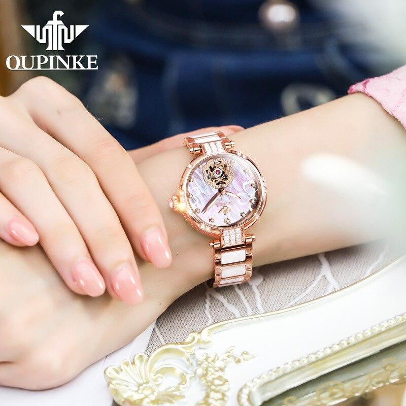 OUPINKE Women Luxury Automatic Mechanical Diamond  Waterproof Fashion Watch enlarge