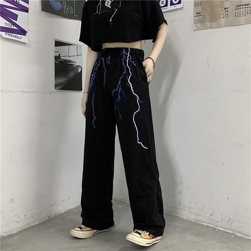 QWEEK Gothic Harajuku Lightning Print Wide Pants Women Streetwear High Elastic Waist Casual Trousers Female Summer Techwear Emo