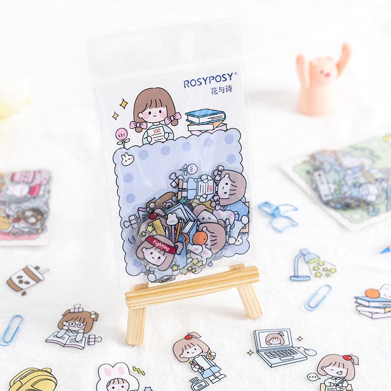 40-pcs-bag-kawaii-travel-rabbit-girl-decorative-stickers-scrapbooking-stick-label-diary-stationery-album-cute-cartoon-sticker