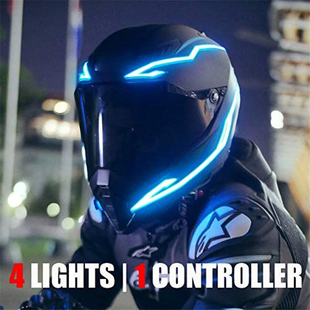 Motorcycle Bike Helmet LED cold light Strip EL Sticker Waterproof 4 Flashing Warning Lights Night Ri