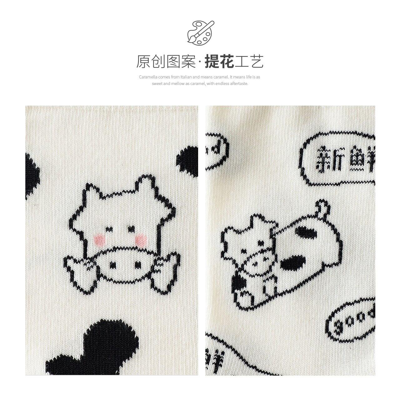 Caramella Socks for Women Ins Trendy Spring and Autumn Long Tube Korean Style Cute Animal Net Red Co