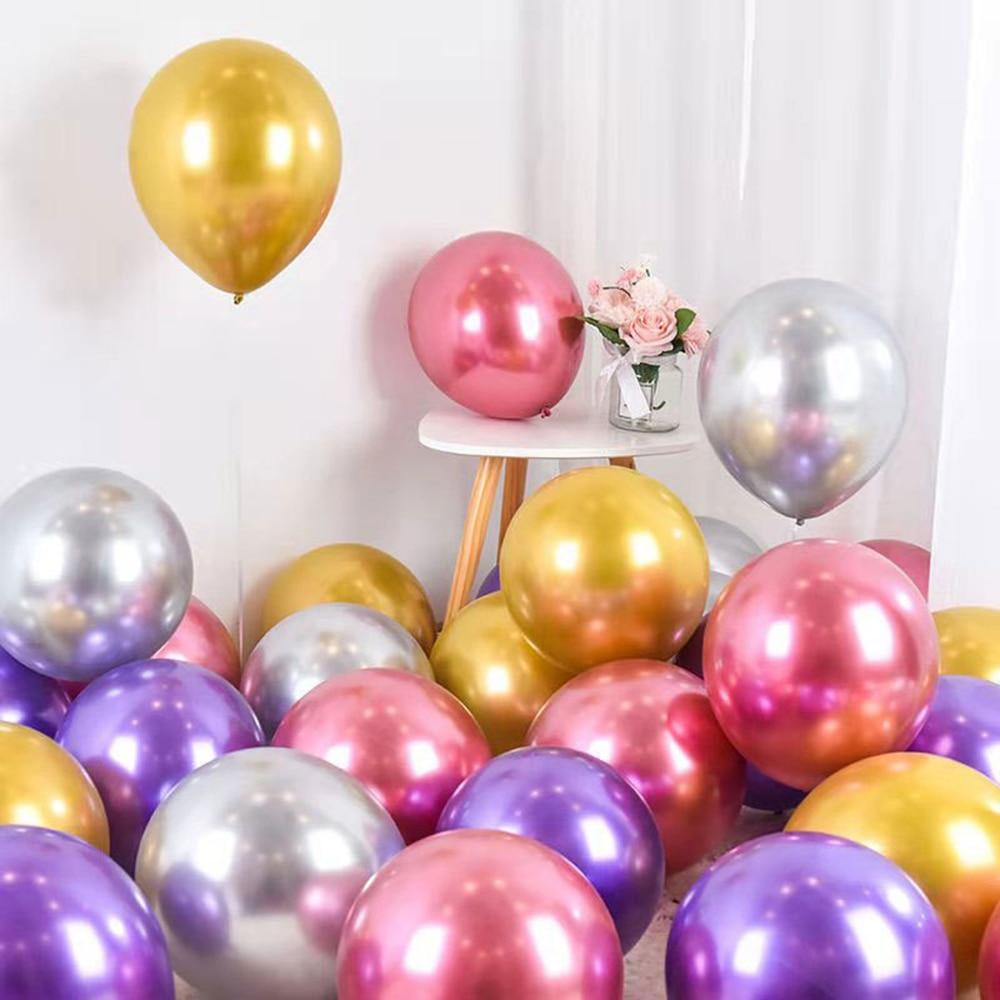 10 5/10 Inch Metal Latex Balloons, Metallic Helium Globos Birthday Party Decoration, Pearl Balloons