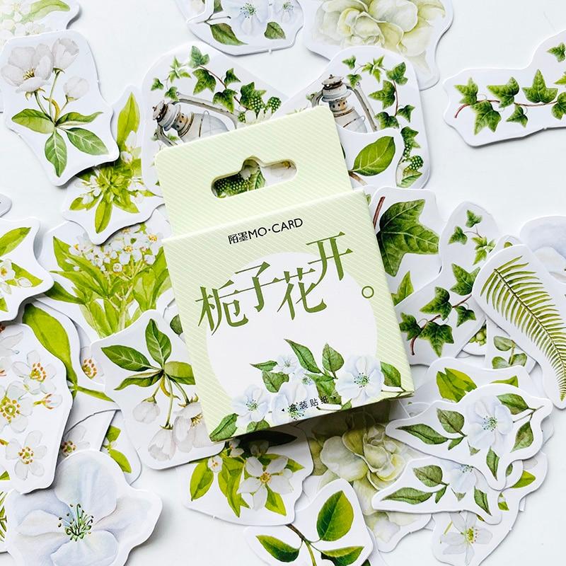 46 unids/pack lindo Kawaii Flor de Gardenia Sticker DIY Sticker Stick etiqueta cuaderno álbum diario decoración regalo de papelería para niños