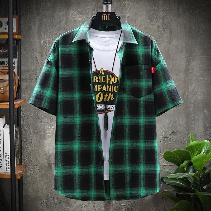 Men Shirt Short Sleeve Casual Vertical Plaid Shirts Mens Chemise Homme 2021 Slim Fit Cotton
