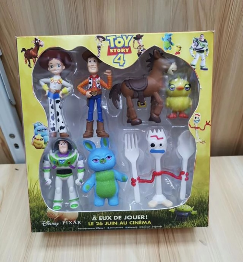 7 pçs/set 4 Toy Story Buzz lightyear Woody Jessie PVC Anime Action Figure Toy Boneca Modelo de Série Boneca Com Caixa