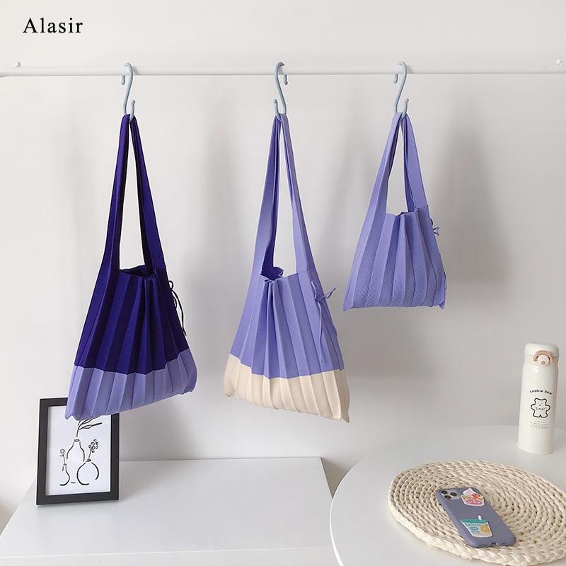 Alasir  Korean Style Chic Women Knit Folds Hand Bag Design Fashion Shoulder Pleated Bag Ladies Elegant Panelled Tote Bag