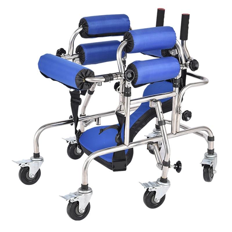 Andador infantil con 6 ruedas para entrenamiento de extremidades inferiores, soporte de prevención, bastón para caminar, instrumento de rehabilitación para niños