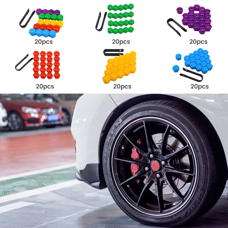 20pcs 17mm Wheel Nut Bolt Head Cover Cap Protective Bolt Caps Exterior Decoration Protecting Bolt Rims Auto Accessories Parts