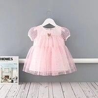 midoo girls dresses childrens clothing stars print mesh a line cute short puff sleeve casual summer kids princess dress clothes