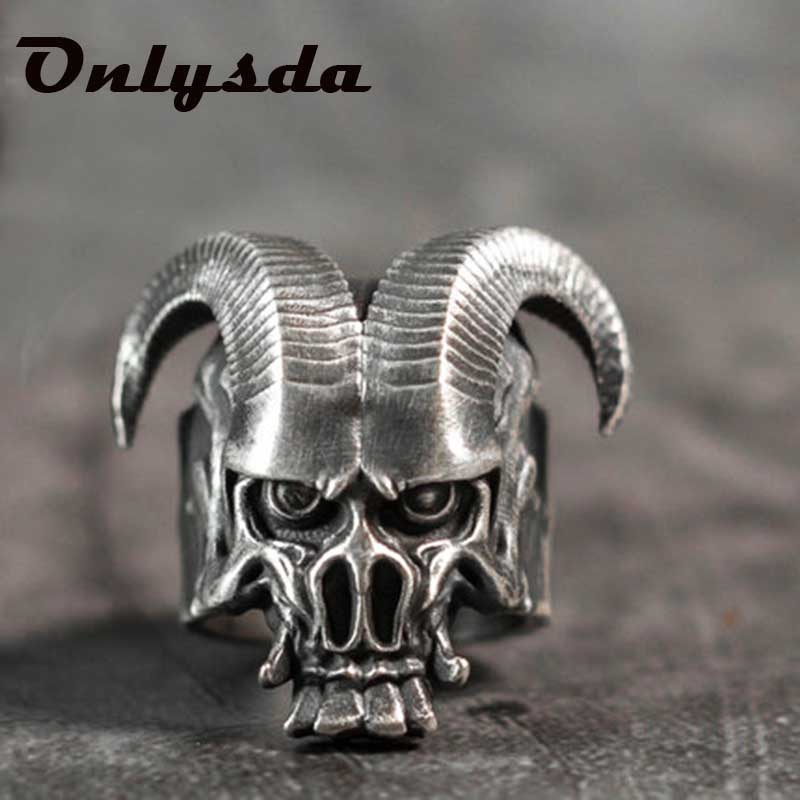 Einzigartige Punk Gothic Satanic Dämon Sorath Schädel Ring Männer 316L Edelstahl Biker Ring Baphomet Schmuck Geschenk OSR259