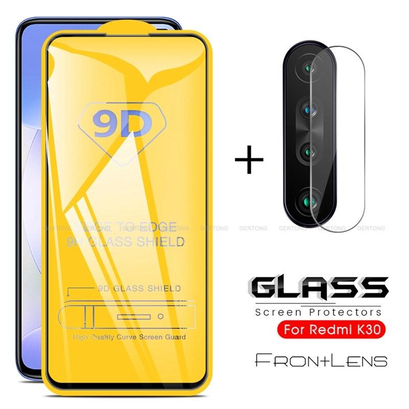 Protector de pantalla 2 en 1 cristal Protector completo para Xiaomi Redmi K30 K 30 cámara trasera película de cristal templado en Redmi K30 6,67