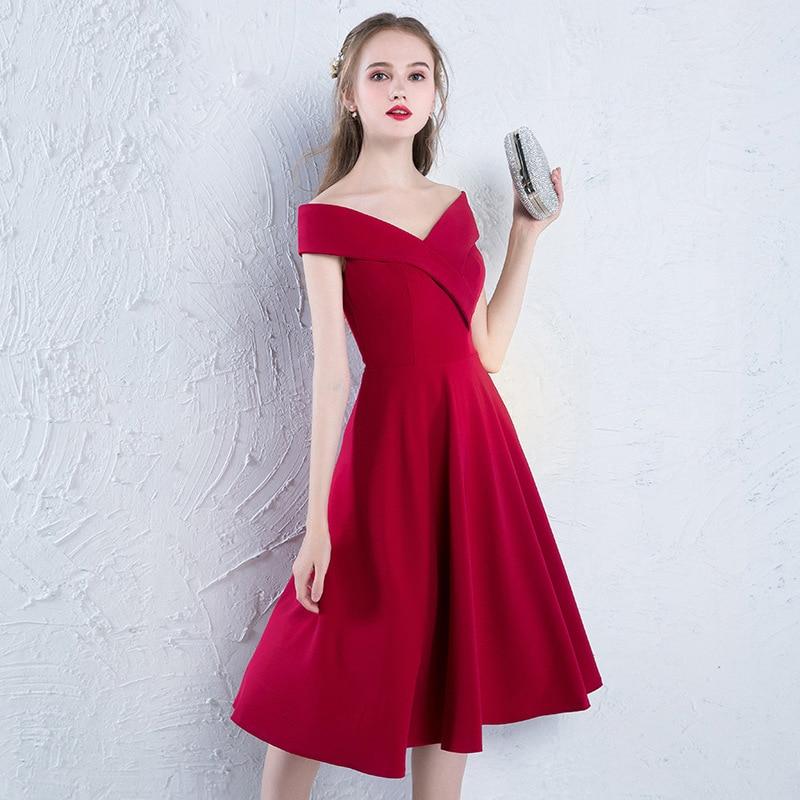 Prom Dresses Vestido Longo Bride's Toast 2020 New Autumn And Winter Mid Length Wedding Party Evening Dress Female