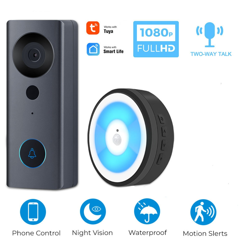 Doorbell C Wired Video Intercom For Home Security Two Way Audio LED Night Light Motion Sensor Tuya S