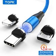 Topk am60 3a carregamento rápido led magnético micro usb tipo c cabo para iphone xs max 8 7 6 cabos de telefone
