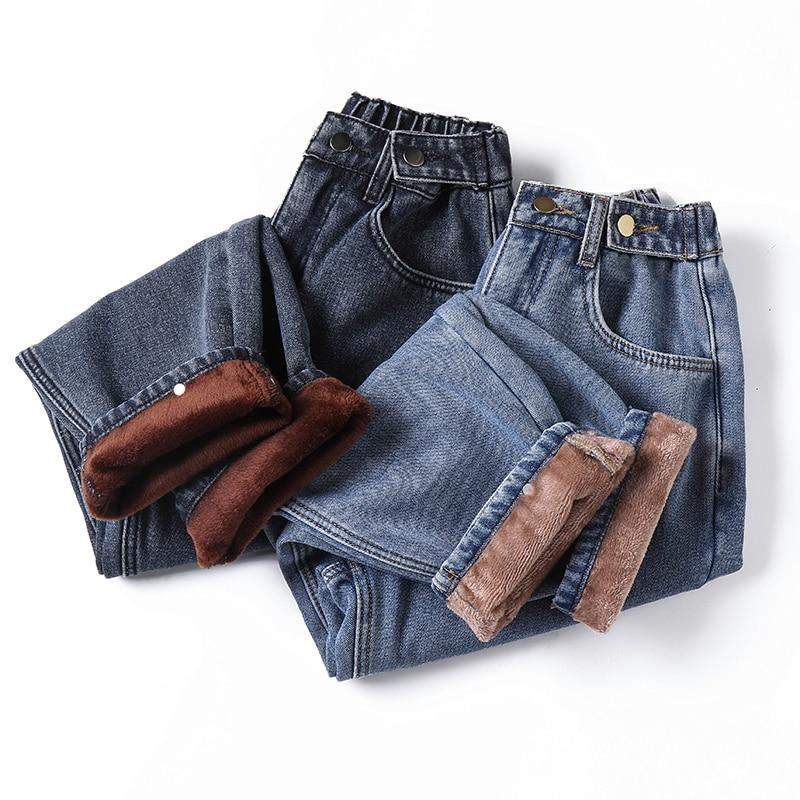 Winter Thick Fleece Warm Loose mom harem pants Jeans Women High waist casual streetwear female blue denim pants Plus size 5XL