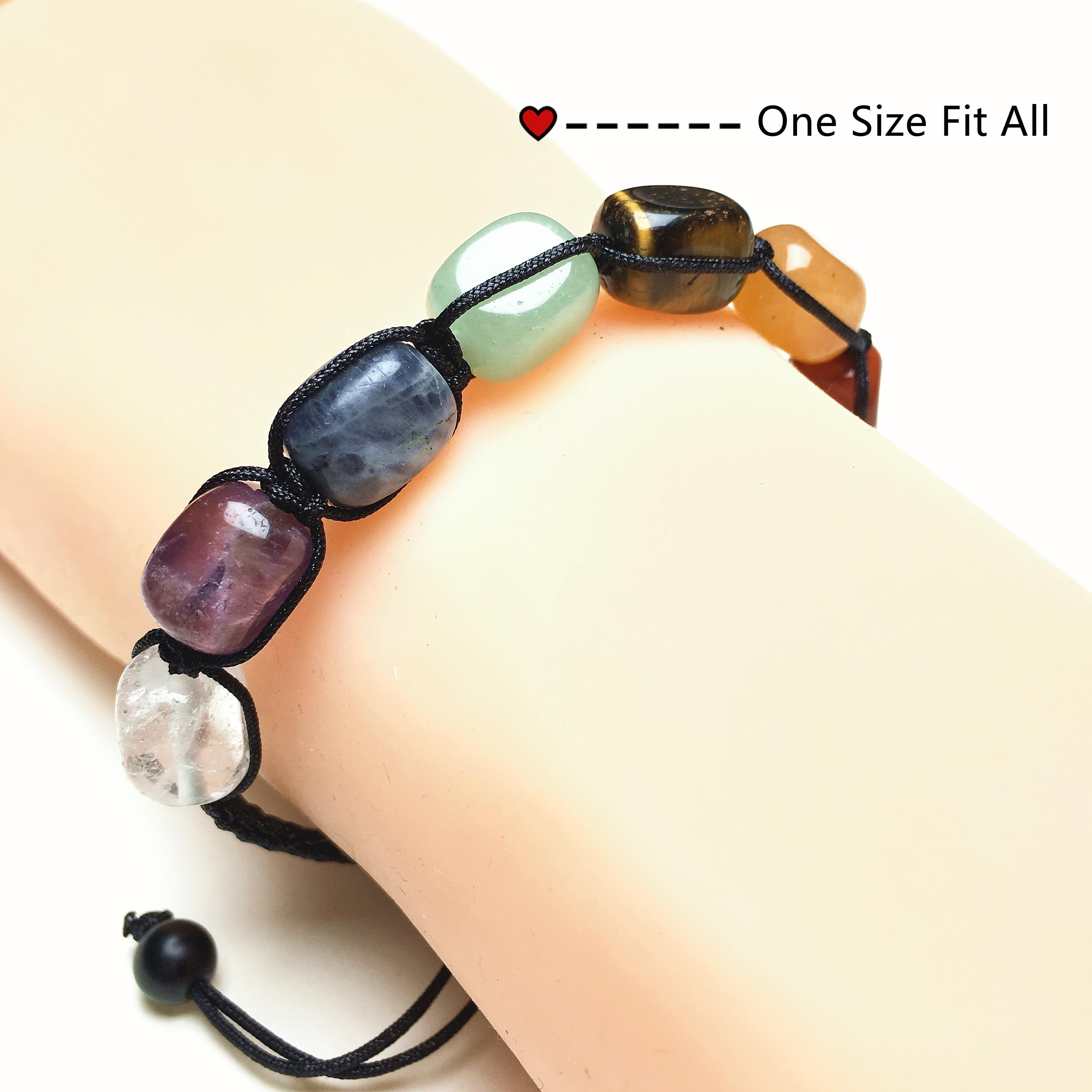 Заводская цена натуральный камень Nugget ручной работы 7 Чакр Wo men s & Men Регулируемый браслет с исцеляющим сбалансированным цветом