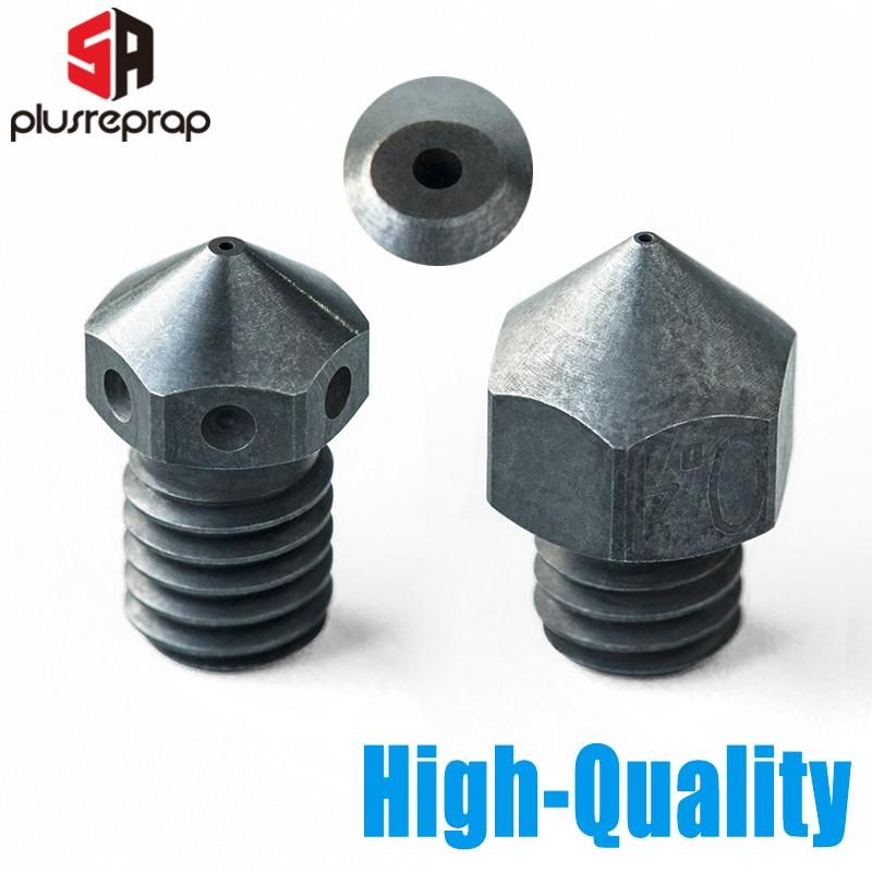 Boquilla de acero endurecido de alta temperatura para impresora 3D PEI PEEK o fibra de carbono para extrusora HOTEND V6 MK8 Ender3 CR10 CR10S