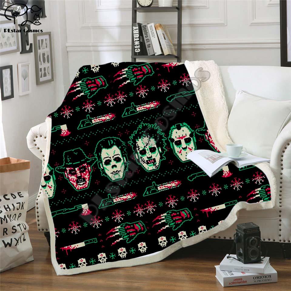 Plstar كوزموس عيد الميلاد و هالوين بطانية ثلاثية الأبعاد طباعة شيربا بطانية على السرير الاطفال فتاة زهرة المنسوجات المنزلية نمط حلم-2