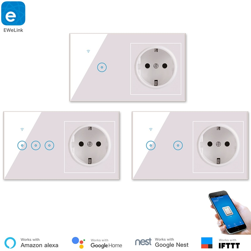 eWelink WiFi Wall Switch Socket EU Plug Smart Remote APP Control Smart Switch & Socket  Google Home Alexa Compatible IFTTT