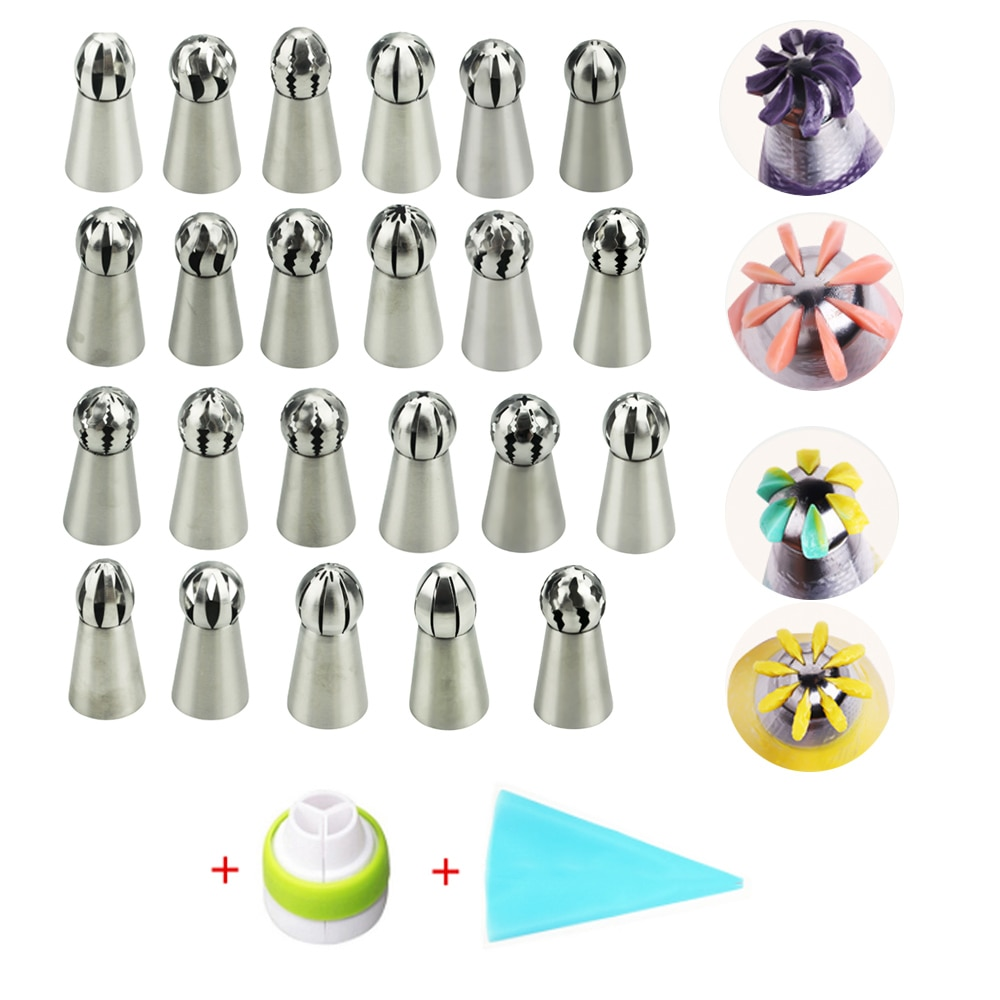 AliExpress - 25PCS Russian Flower Torch Sphere Ball Icing Piping Nozzles Tips Cake Decoration Tools Kitchen Pastry Cupcake Baking Pastry Tool