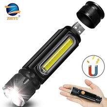 Linternas LED recargables USB ZHIYU para Camping senderismo trabajo con batería integrada linterna con zoom 5 modos T6 luces COB