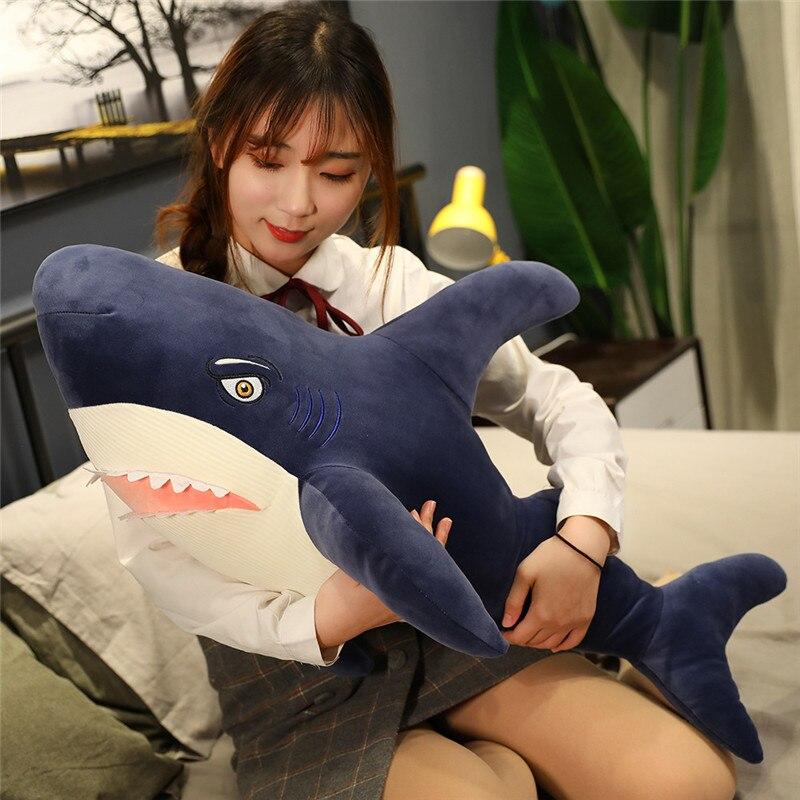 Giant Simulation Sharp Teeth Russian Shark Plush Toys Pillow Marine Life Animal Toy Filled Shark Doll Soft Stuffed Kid Boy Gift