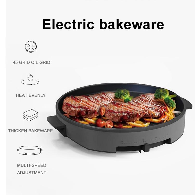 فرن كهربائي الشواء المقلية ستيك غير التدخين غير عصا وعاء ارتفاع درجة الحرارة مقاومة مقلاة الخبز الكهربائية
