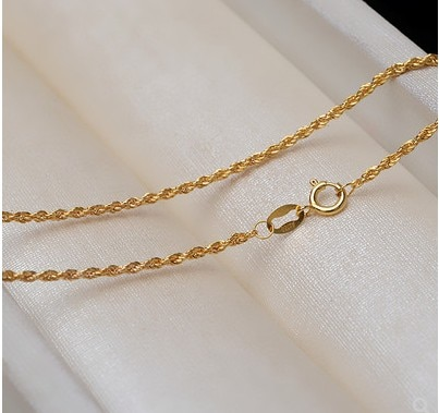 100% real 18k gold jewelry Au750 necklace for women sweater  necklaces  yellow gold 40-60cm solid gold chain necklace about 1.2m