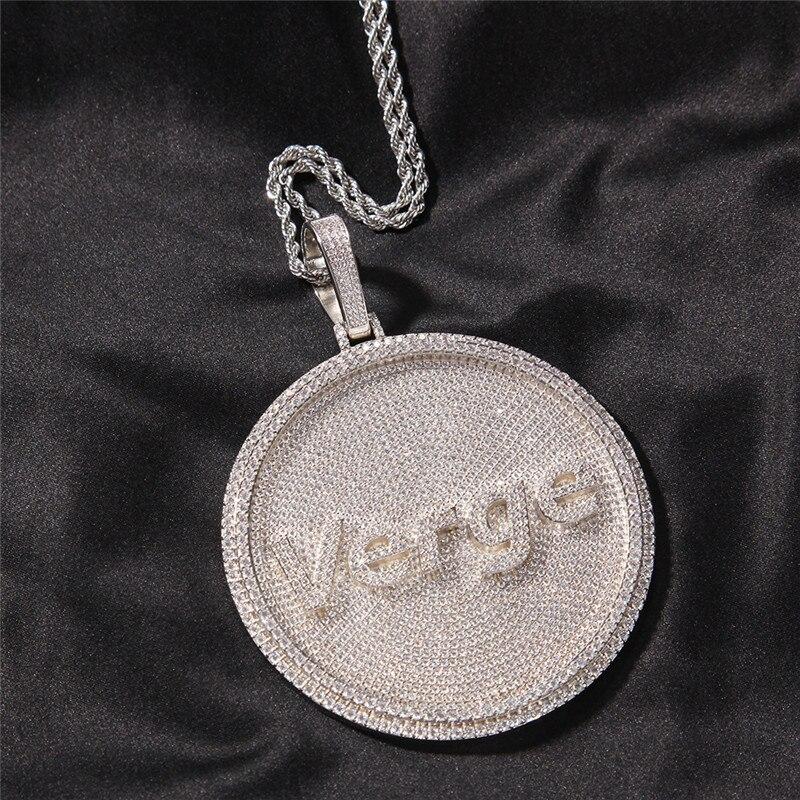 الهيب هوب مخصص رسالة مجوهرات الصلبة عودة بطاقة تعريف/ ملصق دائري الشكل قلادة تمهيد مكعب عقد من حجر الياقوت مع تنس سلسلة المختنق